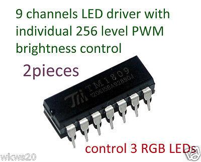 9 channels RGB bi-color LED driver w//256 level PWM TM1809 arduino RGB LED strip