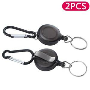 2X-Retractable-Pull-Chain-ID-card-Holder-Reel-Recoil-Key-Ring-Chain-Belt-Clip
