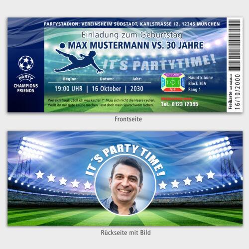 Invitation Birthday Football Ticket CHAMPION Personalised Image langdin Turquoise