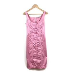 Nina-Ricci-Dress-36-Pink-Sleeveless-Scoop-Neck-Ruched-Sheath-Women-s-NWT-Silk
