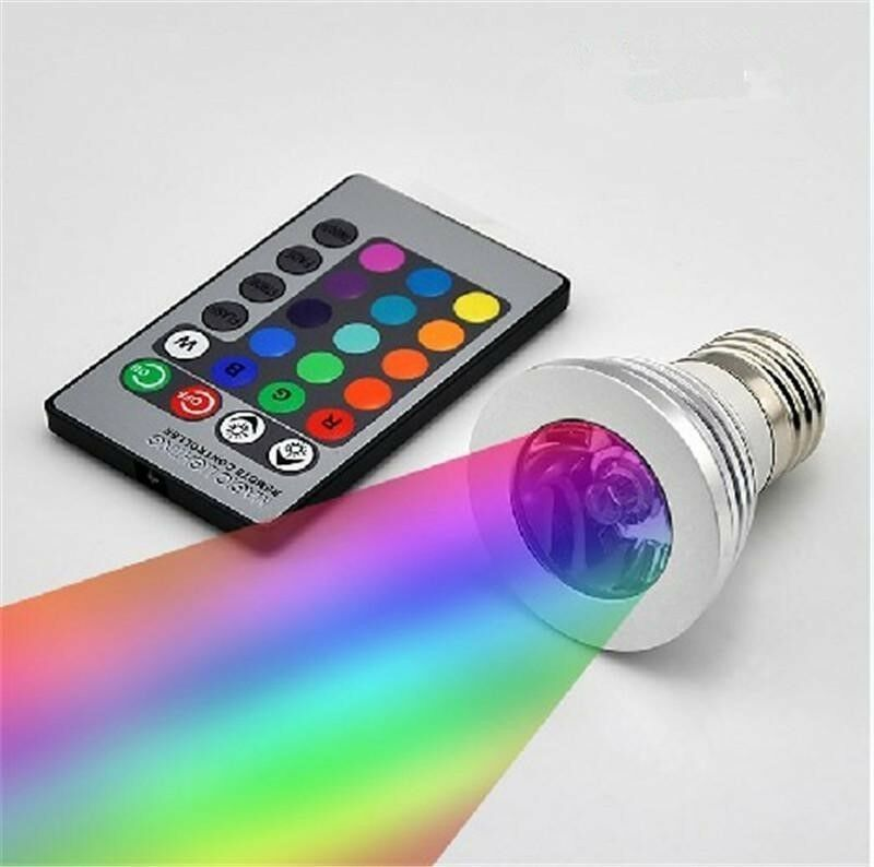 LED Colour Changing Light Bulb with Wireless Remote - 12 Colours, E27 / GU10 incandescent socket