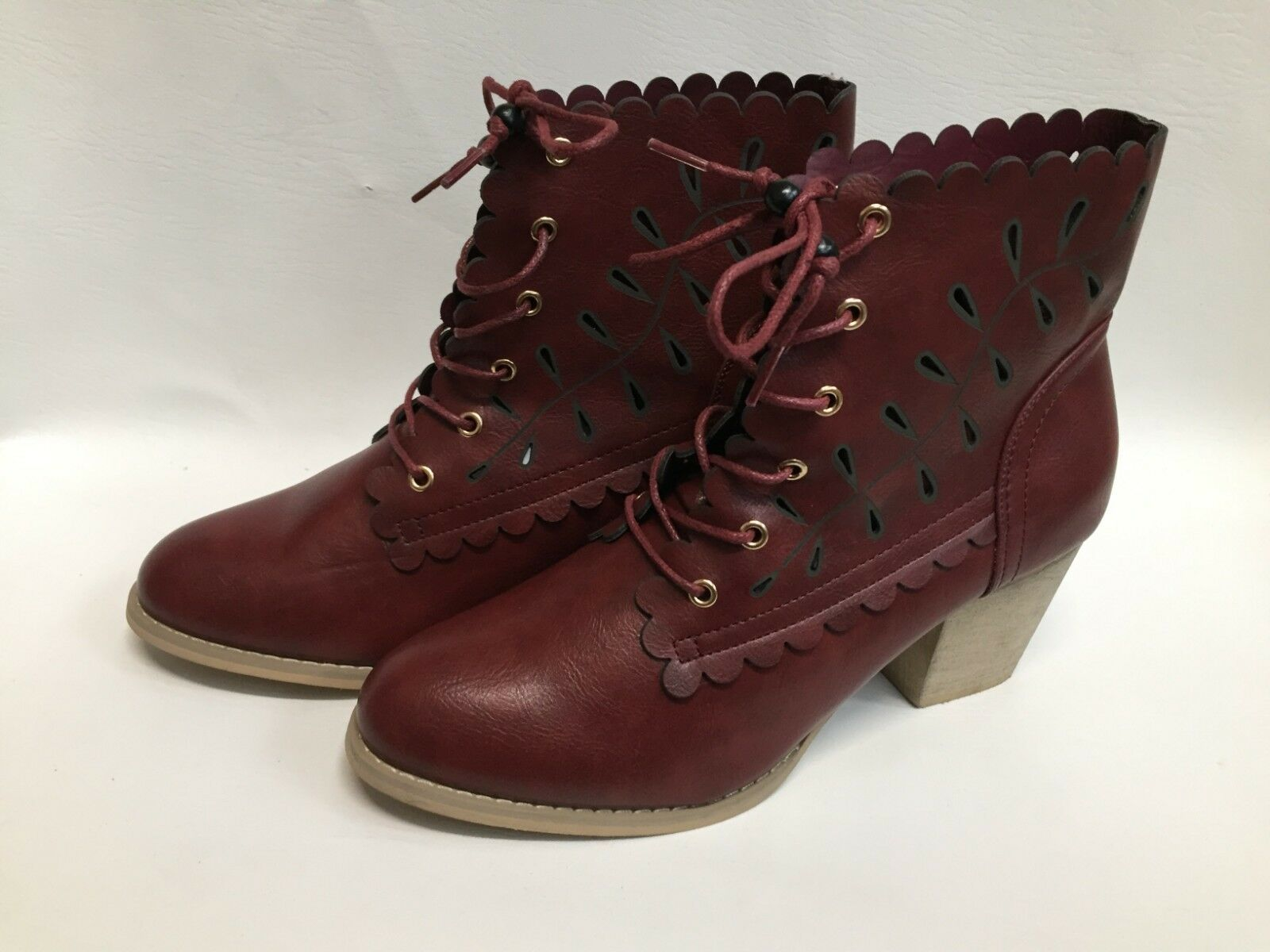 New Ladies Joe Browns Burgundy Cut Out Lace Up Ankle Boots FREE UK P&P