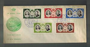 1956 Monaco Königliche Hochzeit Ersttagsbrief Prinz Rainier Grace Kelly Grün FDC