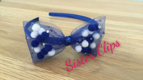 Girls Handmade royal blue white pom pom tulle bow Alice band hair band
