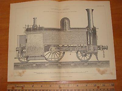 OLD 1877 LOCOMOTIVE ENGINE ILLUSTRATION STEAM BOILER TRAIN RAILROAD RAILWAY PLAN