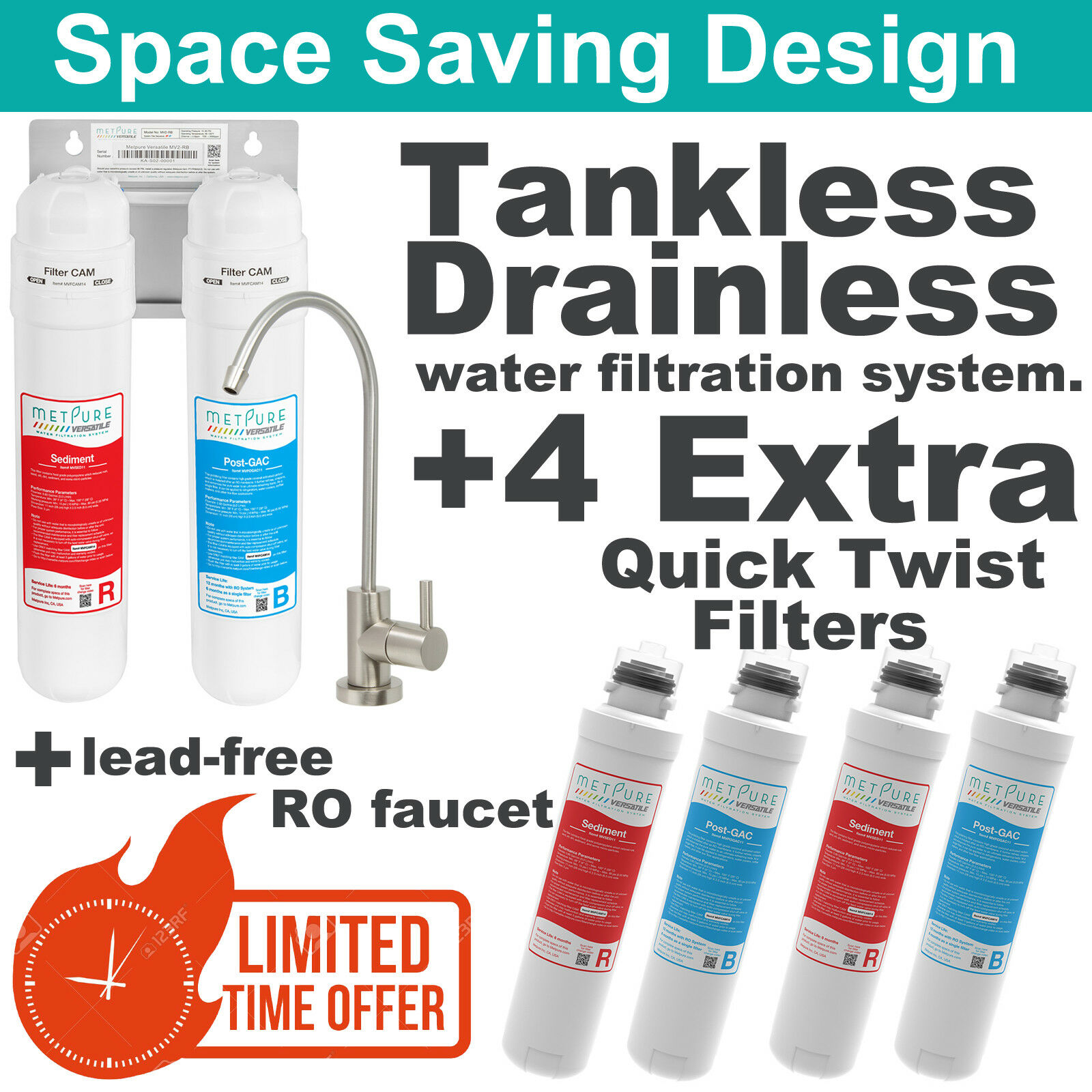 Water Filter System Drainless Tankless Portable Save Space w  4 Filters&Faucet