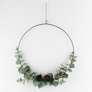 Christmas Ring.Details About Artificial Eucalyptus And Dried Seeds Brass Ring Wreath Christmas Decor Hoop