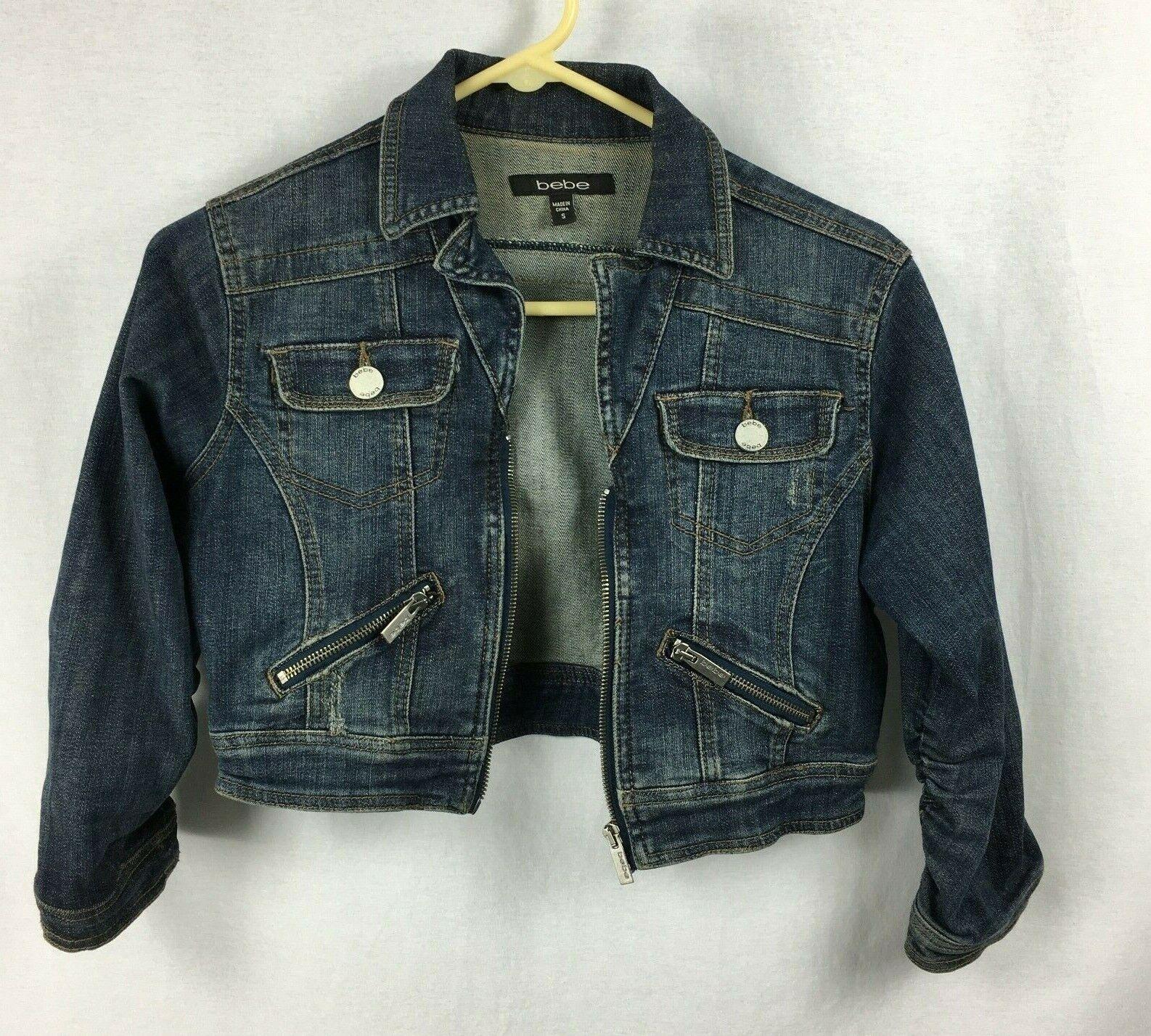 Bebe Cropped 3/4 Sleeve Ruched Sleeve Dark Denim Jean Jacket Size Small