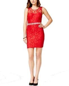 0ef24a50 City Studio Red Size 3 Junior Glitter Embellished Lace Sheath Dress ...