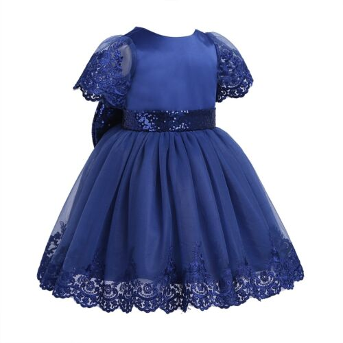 Toddler Baby Bowknot Flower Dress Girls Party Tutu Dresses Wedding Pageant Gown