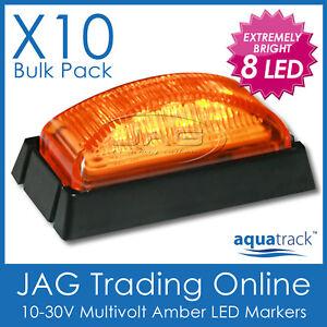 10 x 12V~24V 8-LED AMBER SIDE MARKER LIGHTS BLACK TRIM- Boat/Trailer/Truck Lamps