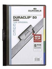 2 x DURACLIP 1-50 A4 PAGE HOLDER ORIGINAL DURABLE CLIP FILE BLACK 2234 01