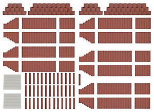 Busch-7871-Flower-Pots-And-Palisades-Red-Brown-H0