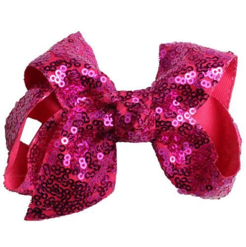 Kids Girls Sequined Bow Alligator Hair Clip Hairclip Hair Pin Glitter Hairband