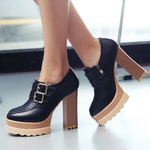 190e3bf83b4 Women Round Toe Platform Block High Heel Side Zip Shoes Stylish ...