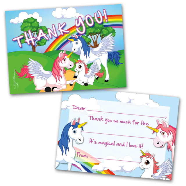 10 kids thank you cards unicorns and rainbows themed and