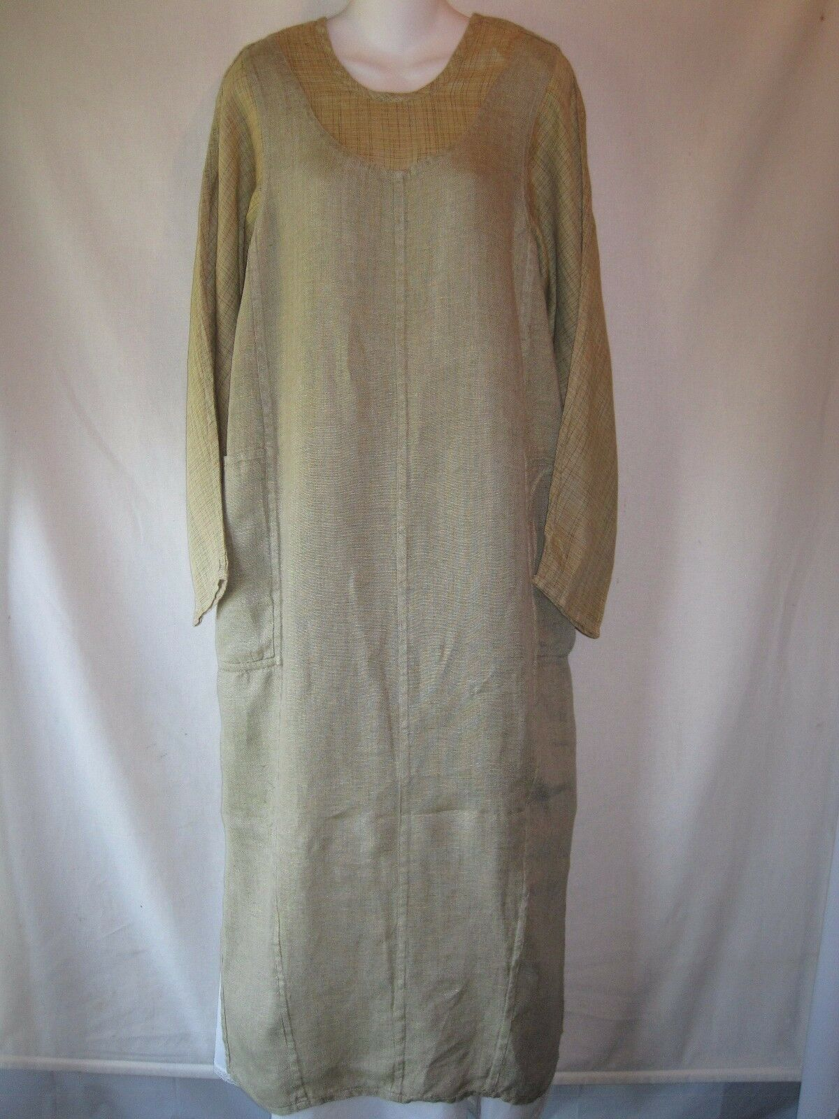 1998 Premier FLAX Jeanne Engelhart Faked You Out Dress Meadow Mesh Green Linen S