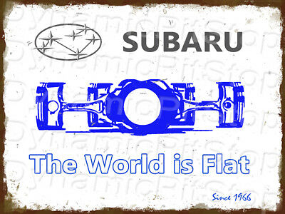 30x40cm Subaru World is Flat Slogan Logo Rustic Tin Sign or Decal