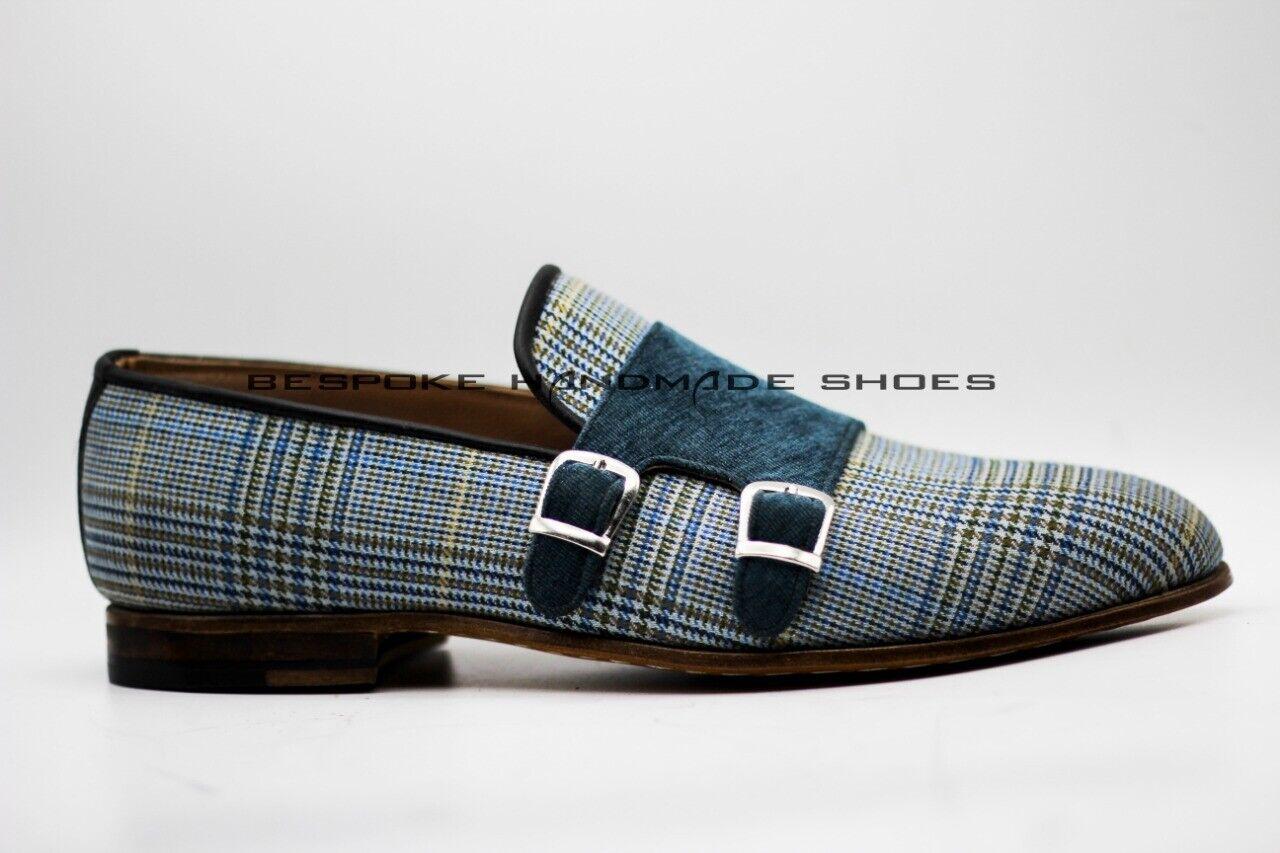 Para hombres Cosida a Mano Dos Tonos De Tela Y Terciopelo Resbalón en Zapatos Formales monje doble
