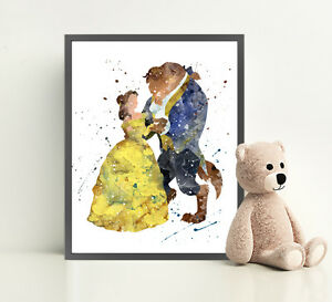 Image Is Loading Beauty And The Beast Disney Art Print Watercolor