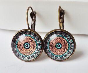 Ohrhaenger-Ethno-Vintage-Retro-Mandala-floral-Cabochon-braun-tuerkis-antik-bronze