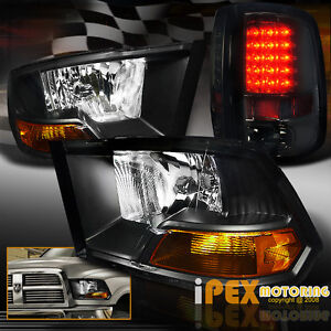 black 2009 2016 dodge ram 1500 2500 3500 headlights. Black Bedroom Furniture Sets. Home Design Ideas