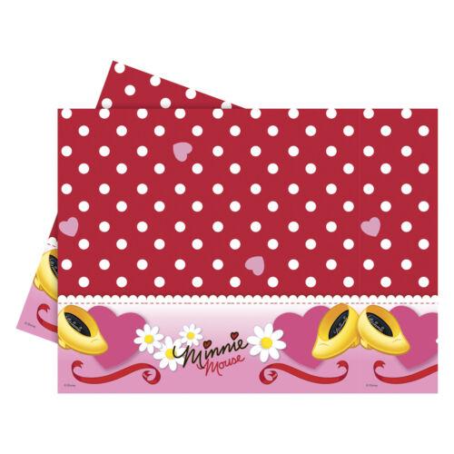 180 cm Disney Minnie Mouse Rouge Pois Fête Plastique Table Cover
