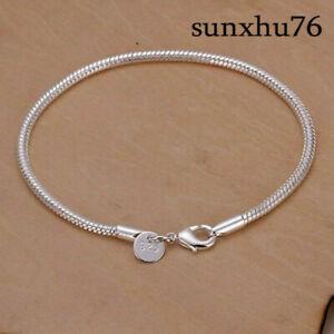 Fashion-925-Silver-Jewelry-3MM-Snake-Chain-Bracelet-For-Women-H187