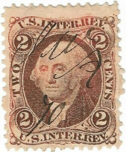 1862-71-US-Internal-Rev-2C-Washington-Fancy-Pen-Cancel-Stamp-Lt-Double-Transfer