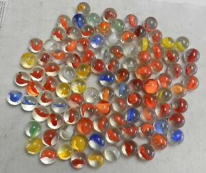 #11645m Vintage Group or Bulk Lot of 100 Peltier Glass Banana Cat's Eye Marbles