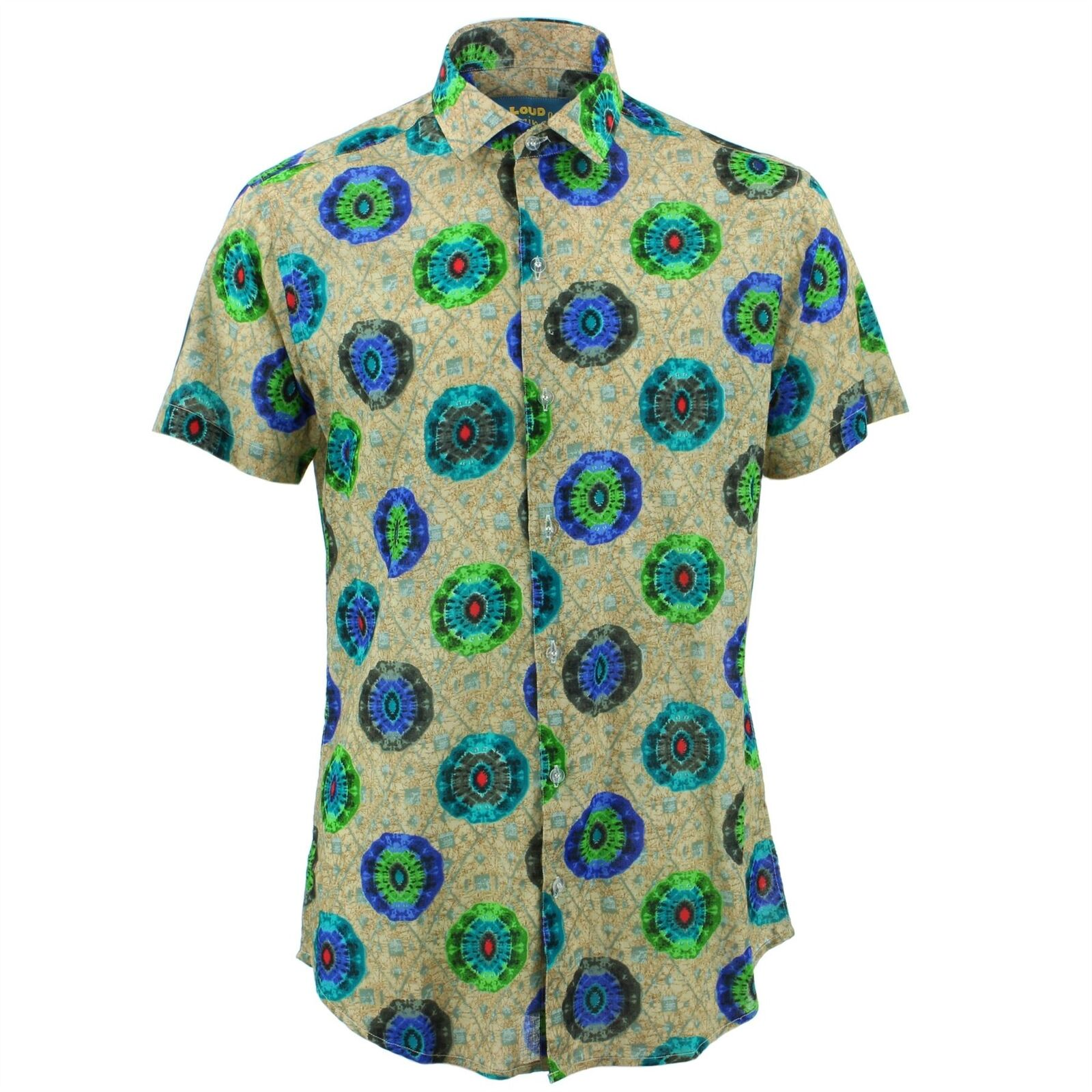 Mens Shirt Loud Originals TAILGoldt FIT Kaleidoscope Blau Retro Psychedelic Fancy  | New Product 2019