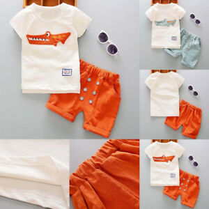 39665f223494c Toddler Kid Baby Boy Outfits Clothes Cartoon Print T-shirt Tops+ ...