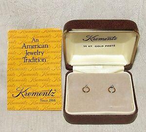1960s Krementz Diamond Tiny Baby Earrings 14 Karat Gold Posts 14k