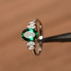 1-58ct-Oval-Cut-Natural-Green-Emerald-Gift-Birthday-Ring-14K-White-Gold-Finish