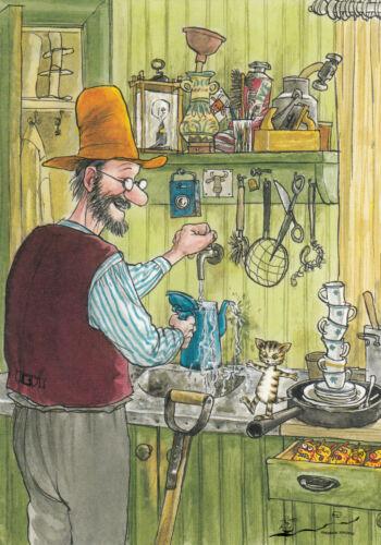 Pettersson und Findus in der Küche Nordqvist Postkarte