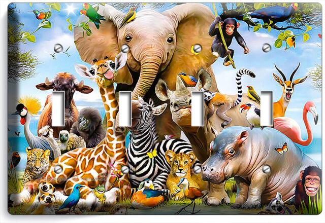 African Jungle Animals 4 Gang Light Switch Wall Plate Baby Nursery Room Hd Decor Ebay