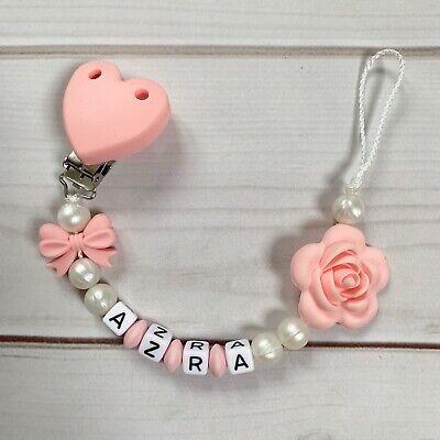 Nuckelkette Schnullerkette mit Namen ♥ Herz ♥ Rosa Mädchen
