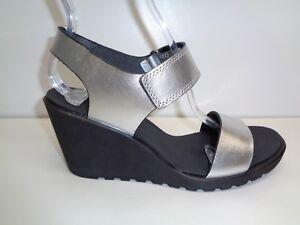 Ecco Size 9 to 9.5 FREJA Silver Metallic Leather Wedge