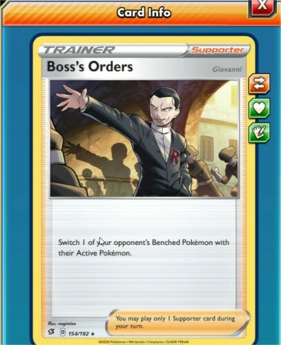 Pokemon TCG Online PTCGO Boss/'s orders 154//192 All Languages