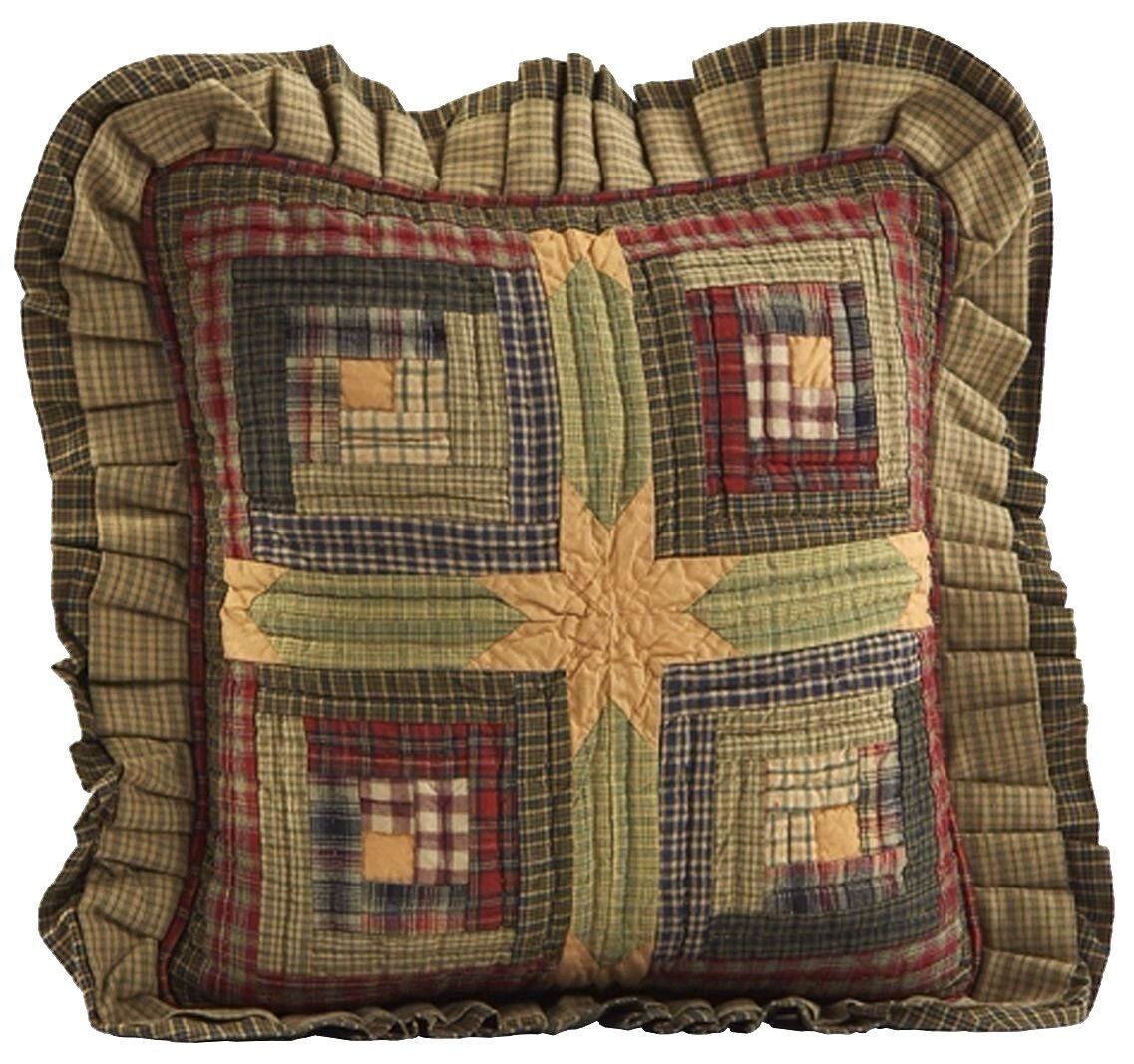 Tea Cabin Hand Quilted Patchwork Pillow Country Green Red Yellow 16  Filled
