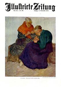 Cousinen XL Kunstdruck 1910 v Heinz May Düsseldorf Oma Großmutter stricken Dutt