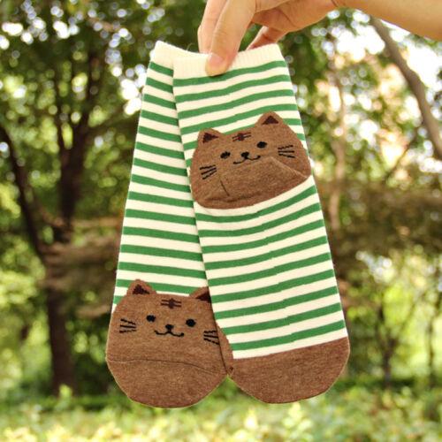 Damen 3D Cartoon Tiere gestreifte Socken Katze Abdrücke Warm Socken Baumwol V2L9
