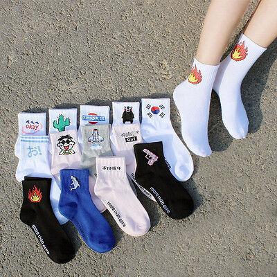 Fashion Women Men Funny Cotton Socks Harajuku Fire Print Unisex Short Socks