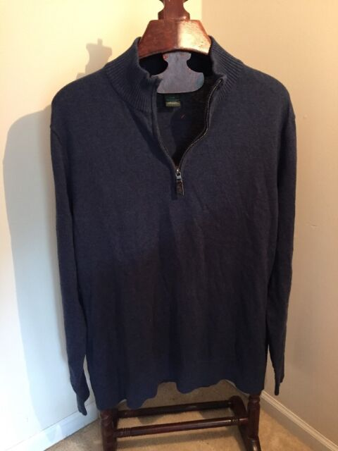 Eddie Bauer Blue Cotton Cashmere Pullover Part Zip Sweater Mens Lg