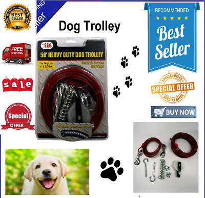 Dog Cable Kit Run Runner Tie Out Trolley System Heavy Duty 50 Foot 120lbs  Steel 709730190813 | eBay
