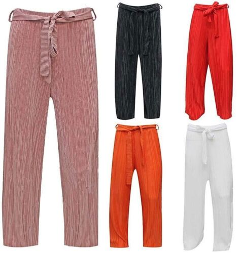 Womens Crepe Full Length Pleated palazzo Ladies Fancy Party Wear Belted Trousers