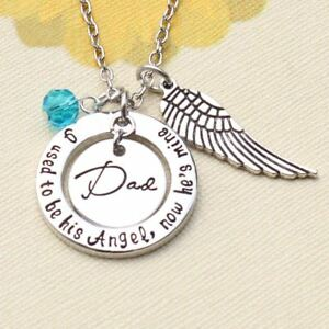 UK-Shop-Silver-039-I-USED-TO-BE-HIS-ANGEL-NOW-HE-IS-MINE-039-Necklace-Dad-Heart