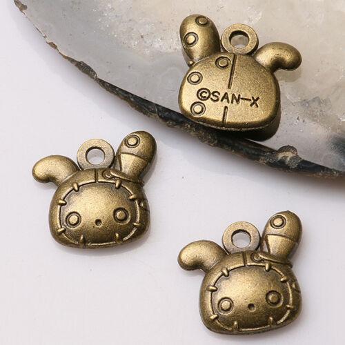 6pcs antiqued bronze color cartoon rabbit head design charms  EF3476