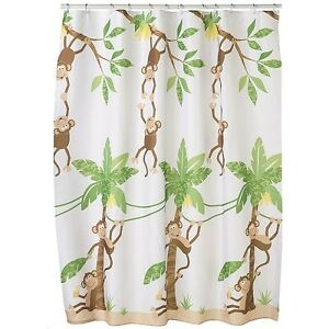 Image Is Loading Saturday Knight Ltd Jungle Monkey Fabric Shower Curtain