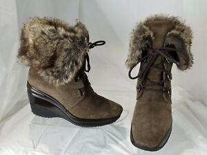AQUATALIA-Women-039-s-Weatherproof-Brown-Suede-Faux-Fur-Trim-Wedge-Booties-Size-6-5M